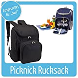 Super schicker Picknickrucksack, für 2 Personen, inkl. Geschirr usw., Farbe: Schwarz