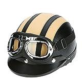KKmoon Motorrad Roller Open Face Halbes Leder-Helm mit Visier UVschutzbrille Retro Vintage Style...