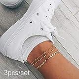 Simsly Boho Beach Layered Fußkettchen Silber Fußkettchen mit Pailletten Fußschmuck für Frauen...