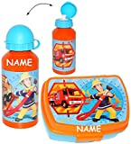 2 tlg. Set _ Lunchbox / Brotdose & Trinkflasche - ' Feuerwehrmann Sam ' - incl. Name - großes Fach...
