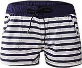 Damen Shorts Pants Hose Kurz Boarshorts Strandhose Strandshorts Retro Panty Vintage Streifen mit...