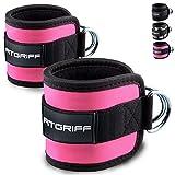 Fußschlaufen (gepolstert) von FITGRIFF (2Stück) - für Fitness Training am Kabelzug - für Frauen...