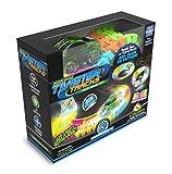 Mindscope präsentiert die im Dunkeln leuchtende Twister-Neon-Rennbahn, die flexible...