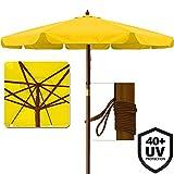 Sonnenschirm mit UV-Schutz 40 Plus Gartenschirm Terrassenschirm aus Holz - Ø 350cm Gelb