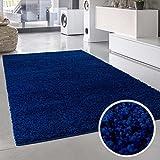 Shaggy Teppich Hochflor Langflor Einfarbig Uni Rund Rechteckig Quadratisch Öko Tex Blau 150x150 cm...