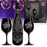 Das Sekt Geschenkset BLING!| Diamond Le Club mit 1.000 Kristallen| 2 Champagnergläser aus schwarzem...