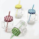 Bada Bing 4er Set Vintage Trinkglas Mit Karo Deckel Und Strohhalm Und Gratis Wein Fibel TT