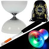Juggle Dream 'LUNAR-SPIN' GLOW-LED Diabolo für Anfänger mit Diablo Alu Handstäbe und...