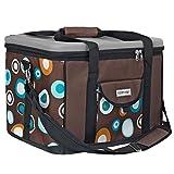 anndora Kühltasche XL schwarz weiß gepunktet 40 L - Isoliertasche Picknicktasche