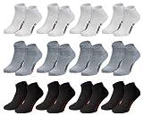 Modische Sneaker-Socken für Damen, Herren + Teenager, 8 oder 12 Paar in schwarz, weiß, grau oder...