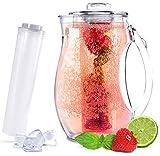 Sandford VITAL Karaffe / Wasserkaraffe (2,8l) mit Einsatz für Fruchtschorlen und Kühlung | Acryl...