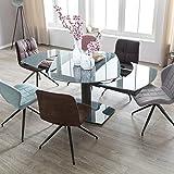 FineBuy Esszimmertisch NOAH 120-180 cm ausziehbar dunkelgrau Metall/Glas | Tisch für Esszimmer...