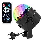 Discokugel Lichteffekte Disco Partylicht, ROOROO Disco Beleuchtung Ball für kinder Mit 7 Farbe RGB...