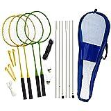 Best Sporting Badminton-Spiel Garnitur bestehend aus Netz, 4 Schläger, 3 Badmintonbällen,...