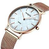 Herren Edelstahl Uhr, Luxus Elegant Schale Ultra Dünne Mesh Analoge Quarzuhr Wasserdicht Geschäfts...