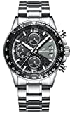 Herren Edelstahl Uhren Männer Chronograph Sport Wasserdicht Datum Kalender Luxus Design Armbanduhr...