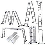 Homgrace 4.7M Leiter Mehrzweckleiter Klappleiter mit Plattform 4x4 Sprossen Aluleiter Anlegeleiter...