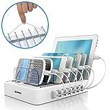 JZBRAIN USB Multi Ladestation für mehrere Geräte mit Schalter Handy und Tablet Ladestation 7 Ports...