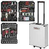 TecTake 377 teiliger Werkzeugkoffer mit Werkzeug bestückt | 3 Schubladen | 37x16x98 cm