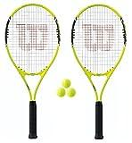 2x Wilson Energy XL Tennisracket + 3tennisballen