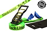 4 Teiliges Slackline-Set LEUCHTGRÜN - 50mm breit, 25m lang - mit Langhebelratsche - Slack-Liners -...