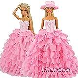 Miunana Abendkleid Prinzessin Kleidung Dress Kleider mit Hut für Barbie Puppen Weihnachten...