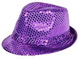 Clubstyle Partyhut Trilby Hut Blink Fedora Bogart Glitzerhut Glitter, Farbe wählen:TH-60 lila