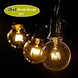 GiveU 25ft(7.62M) G40 Lichterkette Draussen, Wasserdicht Lichterketten Für Weihnachtsbeleuchtung,...