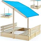 Sandkasten Sitzbank Spielhaus Holz Sandkiste Sandbox Sand 120x120cm mit verstellbarem Sonnendach und...