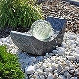 Granit Springbrunnen SB15 mit drehender Glaskugel und LED Beleuchtung Gartenbrunnen Kugelbrunnen
