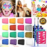 Emooqi Kinderschminke Set Gesichtsfarbe, 16 Farbe Kinderschminke Farben mit 2 Stück Glitter Pulver...