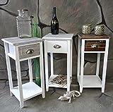 Nachttisch Nachtschrank Nachtkonsole Nachtschränkchen Shabby Vintage LV1021 Grau