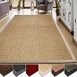 casa pura® Sisal Teppich aus Naturfasern | natur | mit Bordüre aus Baumwolle | pflegeleicht |...
