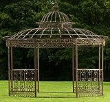 CLP Metall Pavillon ROMANTIK, rund, Höhe 350 cm, stabile Eisen Vierkantprofile Bronze