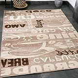Kaffee Design Teppich Trendig, verschiedene Schriftarten und Muster in Beige ideal für die Lounge...