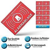 Alarm Aufkleber Alarmanlage - Achtung Alarmgesichert – Schild – Sticker ( Hinweisschild –...