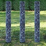 [pro.tec] Säulen - Gabionen 3er-Set (Grundriss viereckig - 25cm) (3x 200 cm hoch) Steingabionen /...