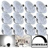 Hengda® 12X 5W LED Einbauleuchte Dimmbar Kaltweiß Silber Matt für das Bad geeignet...