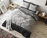 Bettwäsche Sleeptime True Dreams, 135cm x 200cm, Mit 1 Kissenbezüg 80cm x 80cm, Grau