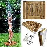 Mobile Outdoor Bodendusche Gartendusche Camping-Dusche aus massivem Teak-Holz - Pool-Dusche,...