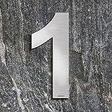 qoboob® Edelstahl Hausnummern 1 Eins Straße Nummer Fein gebürstet Silber 200mm (1 Stück)