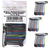 30 Stück farbige Sicherheitsnadeln 28 mm / 10 verschiedene Farben, Sicherheits- Nadel Nadeln, 2138