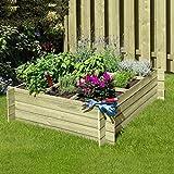 Kräuterbeet Hochbeet 120 x 120 x 36 cm aus Holz mit Stecksystem von Gartenpirat®