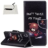 Sony Xperia XA1 Plus Leder Wallet Hülle Don't Touch My Phone Leder TOCASO Tier Serial Muster...