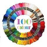 Adkwse Stickerei Set, Kreuzstich Set mit 100 Farbfäden,5 Stück Stickrahmen und 30 Stück Nadeln...
