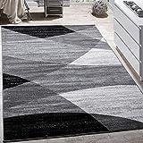 Designer Teppich Modern Geschwungene Wellen Linien Muster Kurzflor Meliert Grau, Grösse:160x220 cm