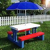 Deuba Kindersitzgruppe mit Sonnenschirm | Picknickset | Tisch und Bänke | Sitzgruppe Kindermöbel...