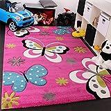 Kinder Teppich Schmetterling Design Grün Grau Schwarz Creme Pink, Grösse:140x200 cm