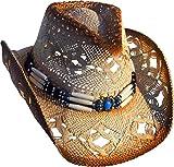 Cowboyhut Strohhut Westernhut Hut mit Hutband beige/braun geflammt Gr. 52-56