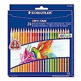 Staedtler Noris Club 127 NC24 Buntstifte, erhöhte Bruchfestigkeit, dreikant, Set mit 24 brillanten...